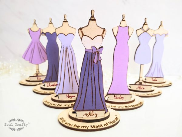 Personalized purple Will You Be My Bridesmaid proposal gift